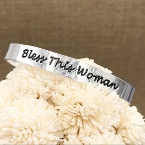 Bless This Woman Thin Worded Silver Cuff Bracelet